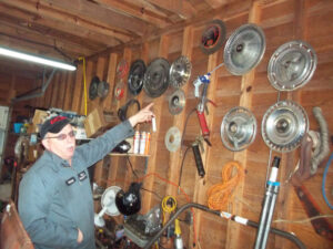 A workshop, next to Sodoma's home in Grantsboro, houses numerous auto parts, including some hard-to-find hubcaps. Many of his customers visit on Sunday afternoons to pick up an economical part or two.