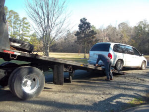 Sodoma uses a vehicle known as a 'rollback' to transport a flooded car. Most vehicles are literally rolled backwards onto the bed of the truck, using a winch and rugged, steel cable.