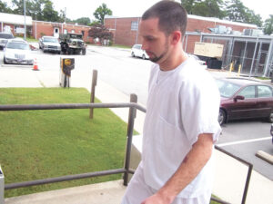 Hardison enters the Pamlico County Courthouse Wednesday morning