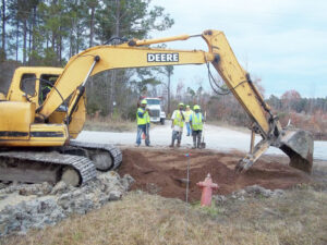 Crews worked quickly Wednesday afternoon to repair the most recent damage near the intersection of Kershaw and Janeiro Roads.