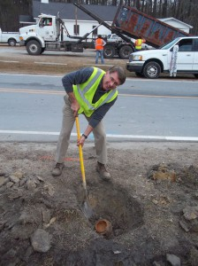 Al Gerard, Field Operations Supervisor for the Pamlico County Water Department, spent much of the day opening and closing valves throughout the sprawling system in order to isolate the problem.