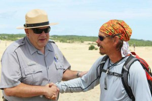 Park Superintendent Debo Cox greets blind hiker Trevor Thomas. (Photo credit Simon Lock)
