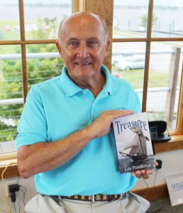 Author Les Pendleton with Treasure, the first of his six books.