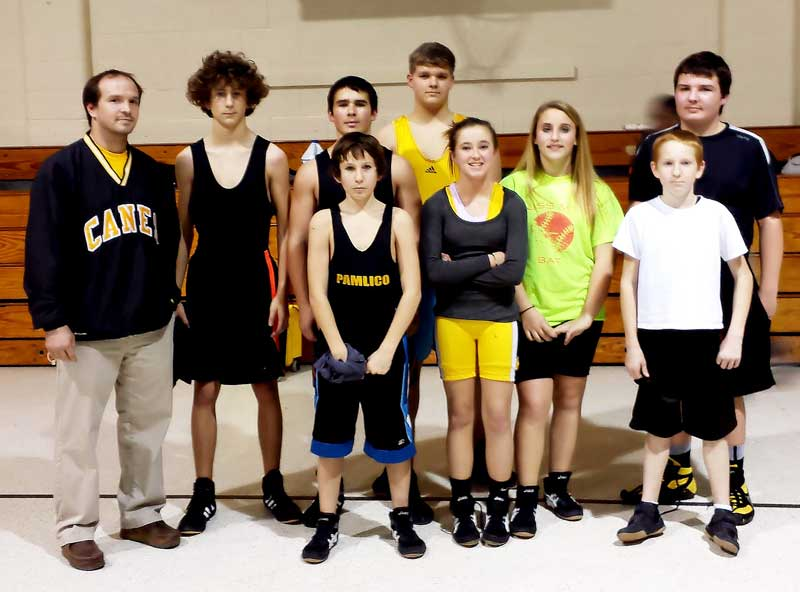 Back row, from left, Coach Kevin Knox, Blake Daniels, Thomas Loomis, Zeke Huffman, and Mathew Buck. Front row, from left: Nathan Toler, Samantha Edmonds, Kandice Stembridge, and Colby Bennard.