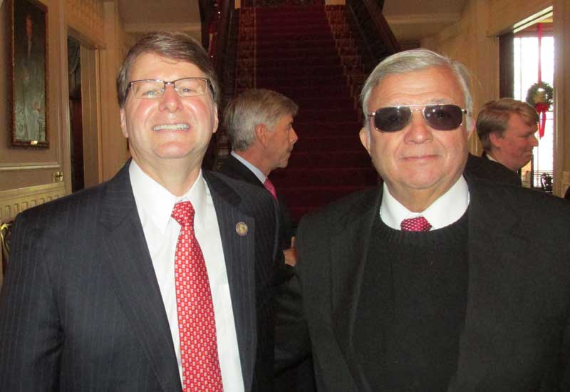 At right, Mark Martin, Chief Justice of the North Carolina Supreme Court, is seen here with Pasquotank County Commissioner Frankie Meads.