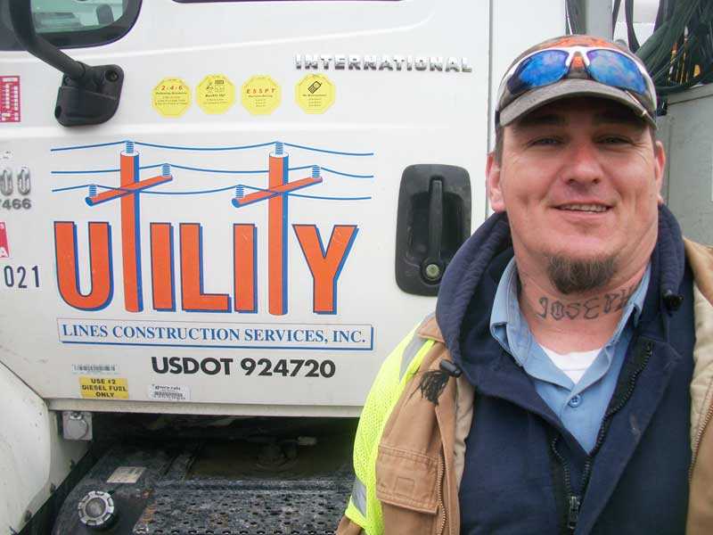 Joe Jackson, a B-Lineman with Utility Line Construction Services, arrived late Tuesday. He and his counterparts face a long, cold night of repairs.