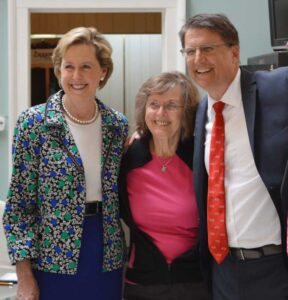 Vicki Vitale, center, co-owner of Fine Arts at Baxters in downtown New Bern, enjoys a photo opportunity with Susan Kluttz, Secretary of Cultural Resources for the state, and Gov. Pat McCrory.