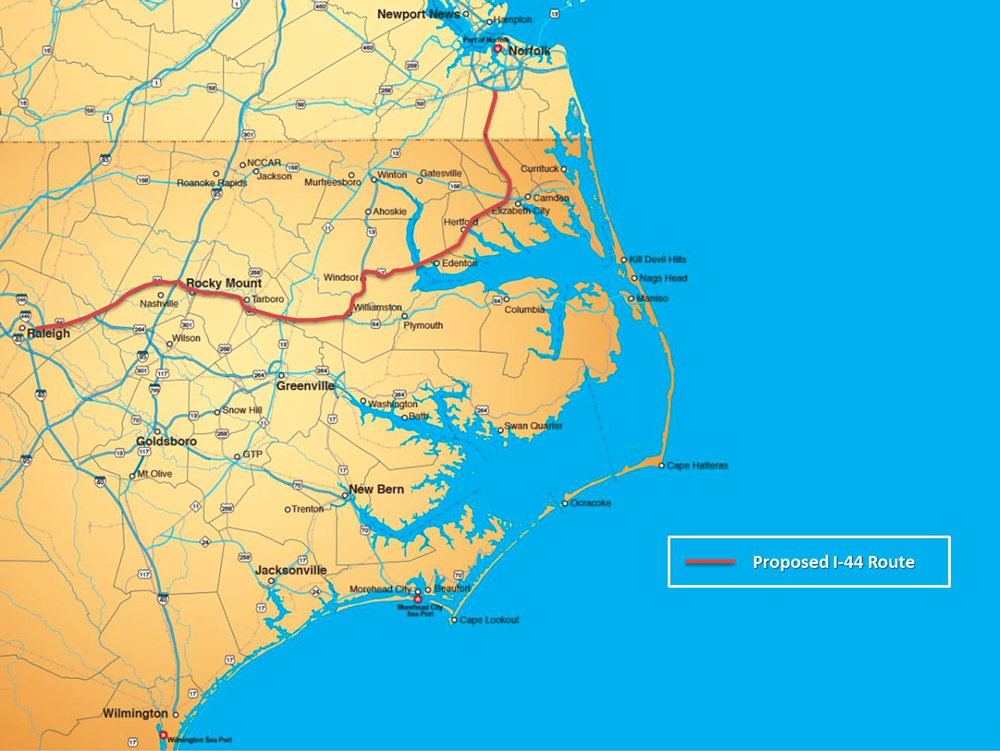 I-44, if approved, would provide fast transit from Raleigh to Hampton Roads, Va.