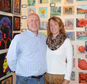 Mike and Lisa Lentz in her studio.