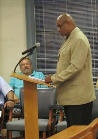 Keith Rivers, president of the local NAACP, spoke passionately during a public comment period.