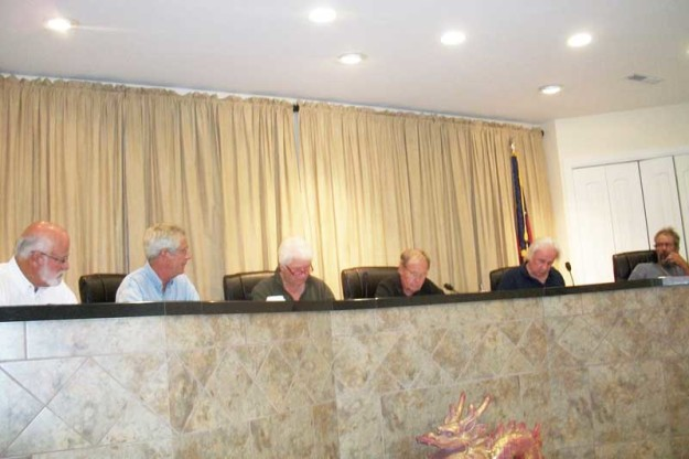 The Oriental Town Commission met Monday to release some, but not all, of  requested Closed Session minutes. From left, Commissioners Charlie Overcash, David White, and Barb Venturi; Mayor Warren Johnson, and Commissioners Larry Summers and Sandy Winfrey.