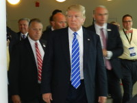 On more than one occasion, Trump sported his trademark scowl.