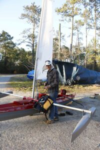 """Alan Stewart of Vandemere-based B & B Yacht Designs designed and constructed this vessel, which he calls an """"Expedition Sailing Canoe.""""  It's first test comes in an 'adventure race,' which begins this weekend in Florida."""