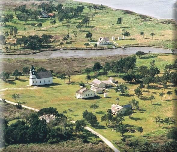 Aerial view of Portsmouth Village.