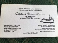 Everyone misses Don Morris, who must have been quite a character, as his business card will attest!