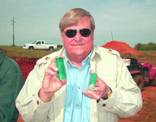 Rich Olsen, with magnificent emeralds, discovered in 2011.