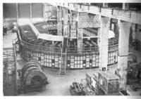This massive structure, known as a Calutron, captured an elusive isotope of Uranium. Because copper was in short supply during World War II, the electromagnets used massive amounts of valuable silver – returned to government stockpiles after the war.