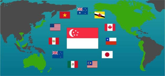 Singapore's flag is front and center in this image of the 12 nations that would comprise the Trans Pacific Partnership.