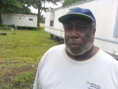 Eddie Wright owns a parcel on Janeiro Road where local officials recently ordered a stop to all septic system work.