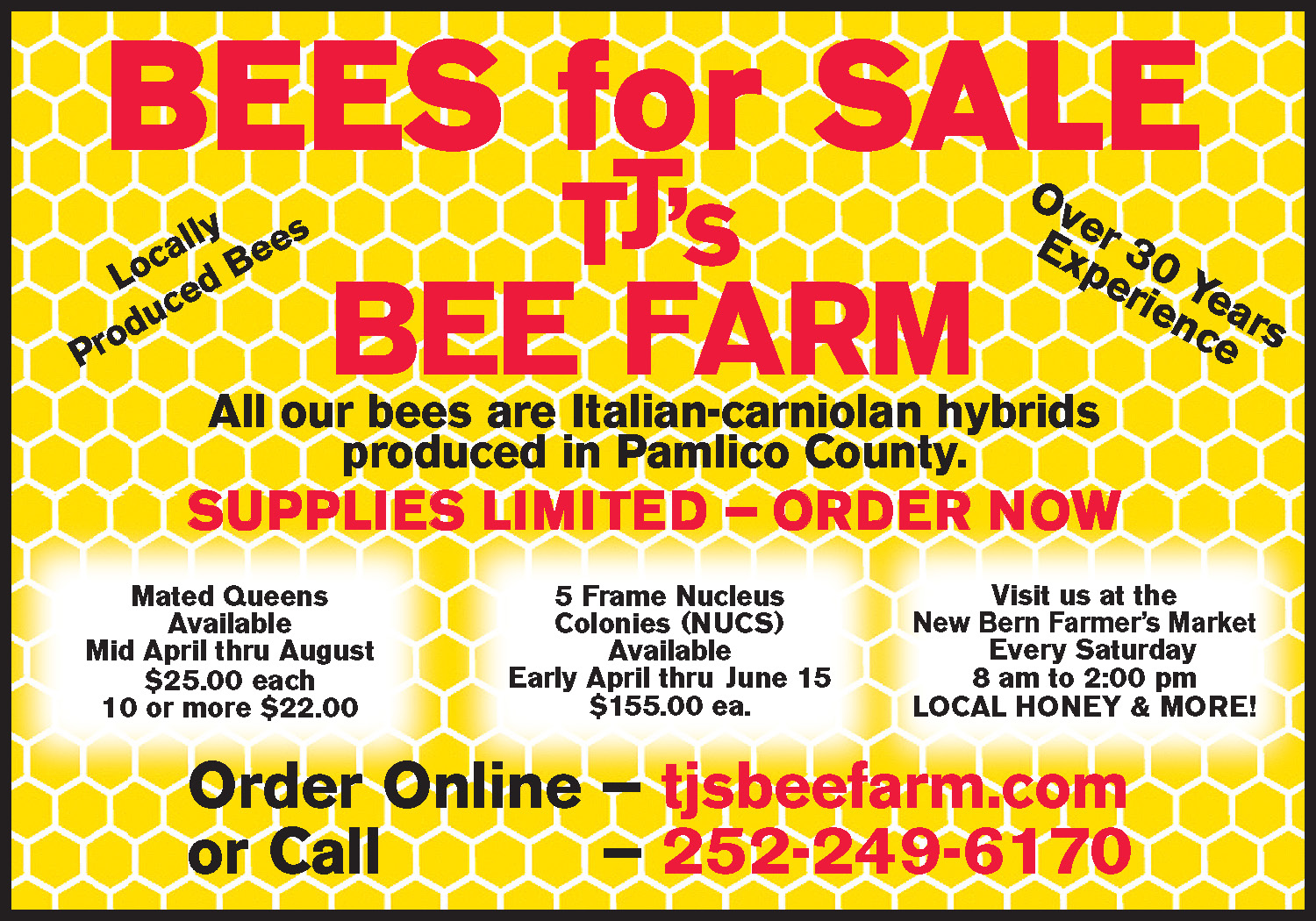 01-14-2021 TJ's Bee Farm Ad Half Page Color